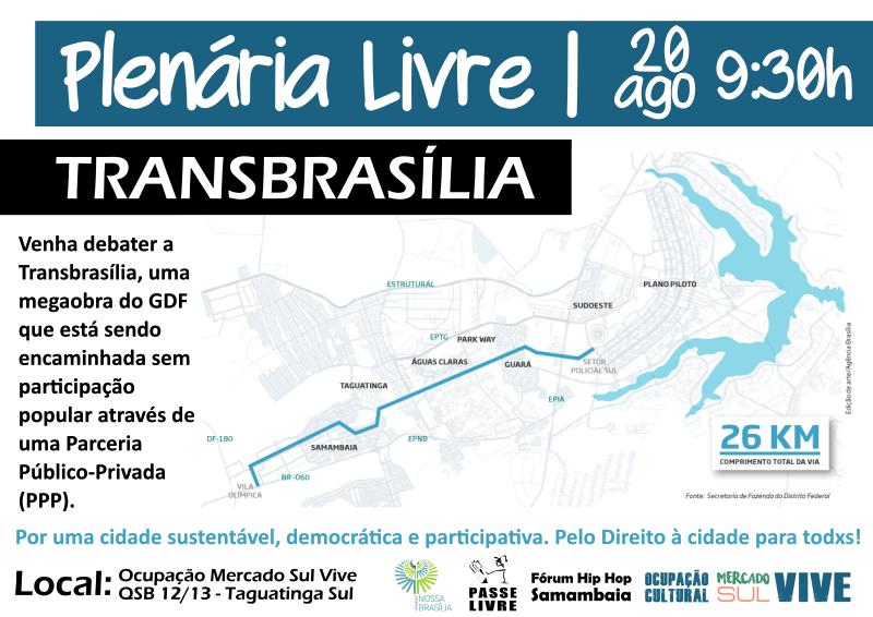Plenária Livre reúne várias organizações em Taguatinga para debater a Transbrasília